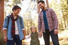 Coppie maschii gay con la figlia che cammina attraverso il terreno boscoso di caduta Immagine Stock