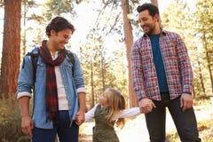 Coppie maschii gay con la figlia che cammina attraverso il terreno boscoso di caduta Immagini Stock Libere da Diritti
