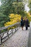 Coppie mature che camminano sul ponte di legno Amore allineare Immagini Stock Libere da Diritti