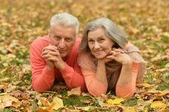 Coppie mature nel parco di autunno Fotografia Stock Libera da Diritti