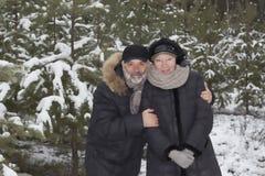 Coppie mature in una foresta nevosa Fotografia Stock Libera da Diritti