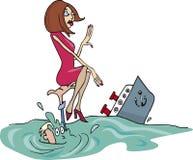 Coppie naufragate in oceano Fotografie Stock