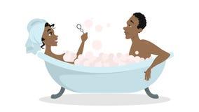 Coppie nel bagno illustrazione di stock
