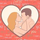 Coppie nell'amore, amanti bello uomo ed abbracciare e bacio della donna nella forma di cuore rosa, sul color scarlatto del fondo  illustrazione vettoriale
