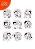 Coppie nell'amore che bacia, schizzo del biglietto di S. Valentino per la vostra progettazione Immagine Stock Libera da Diritti