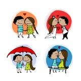 Coppie nell'amore che bacia, schizzo del biglietto di S. Valentino per la vostra progettazione Fotografia Stock Libera da Diritti