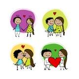 Coppie nell'amore che bacia, schizzo del biglietto di S. Valentino per la vostra progettazione Immagine Stock