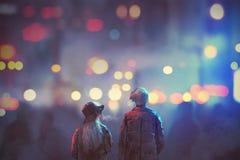 Coppie nell'amore che cammina sulla via della città alla notte illustrazione vettoriale