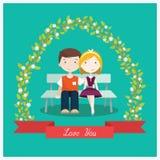Coppie nell'amore che si siede sul banco sotto l'albero - illustrazione piana di vettore di stile Immagine Stock Libera da Diritti