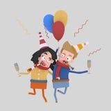 Coppie nell'amore che tosta con il champagne 3d royalty illustrazione gratis