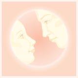 Coppie nell'amore, desig della cartolina d'auguri della posta del biglietto di S. Valentino Immagini Stock