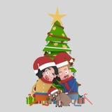 Coppie nell'amore e cane che posa davanti all'albero di Natale 3d Immagini Stock