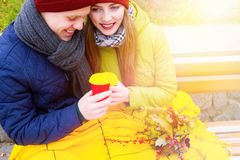 Coppie nell'amore in parco in autunno Fotografie Stock Libere da Diritti
