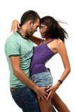 Coppie nell'amore sopra priorità bassa bianca Fotografia Stock Libera da Diritti