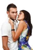 Coppie nell'amore sopra priorità bassa bianca Fotografie Stock