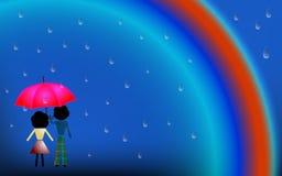 Coppie nell'amore sotto la pioggia illustrazione di stock