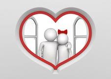 Coppie nella finestra a forma di del cuore illustrazione vettoriale
