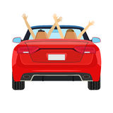 Coppie nella guida di veicoli con le armi alzate Fotografia Stock