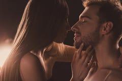 coppie nude tenere che se baciano e che esaminano, su marrone fotografie stock