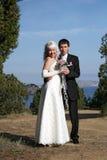Coppie nuovo-sposate felici Immagini Stock