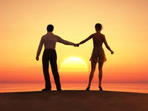 Coppie romantiche al tramonto Fotografia Stock