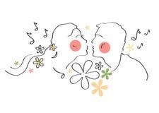 Coppie romantiche, amore, nozze, matrimonio, nuziale, compleanno, San Valentino illustrazione di stock