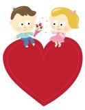 Coppie romantiche con il segno isolato Fotografia Stock