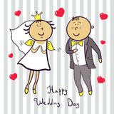 Coppie romantiche di nozze. Sveglio sposato. Immagine Stock Libera da Diritti