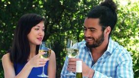 Coppie romantiche sorridenti che tostano i vetri di vino archivi video