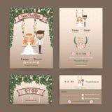 Coppie rustiche della sposa e dello sposo del fumetto di nozze Immagine Stock