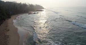 Coppie sane che corrono sulla spiaggia tropicale video d archivio