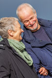 Coppie senior anziane felici che camminano sulla spiaggia immagini stock