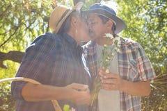 Coppie senior che baciano nel giardino con il canestro del fiore Immagini Stock Libere da Diritti