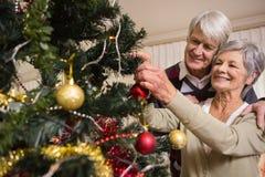 Coppie senior che decorano il loro albero di Natale Immagine Stock