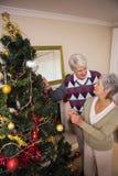 Coppie senior che decorano il loro albero di Natale Fotografia Stock Libera da Diritti