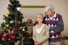 Coppie senior che decorano il loro albero di Natale Immagini Stock Libere da Diritti