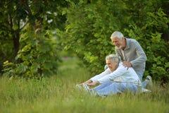 Coppie senior che fanno gli esercizi Immagini Stock Libere da Diritti