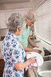 Coppie senior che lavano i piatti Fotografia Stock Libera da Diritti