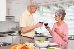 Coppie senior che preparano pranzo insieme che mangia vino rosso Fotografia Stock