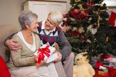 Coppie senior che si siedono accanto al loro albero di Natale Immagine Stock