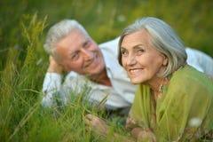 Coppie senior che si trovano sull'erba Fotografia Stock