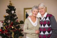 Coppie senior che sorridono accanto al loro albero di Natale Fotografia Stock