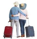 Coppie senior con bagagli immagine stock