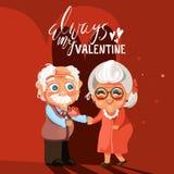 Coppie senior del fumetto sveglio e adorabile nell'amore romantico Immagini Stock Libere da Diritti
