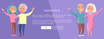 Coppie senior del manifesto dei nonni che ondeggiano le mani Immagini Stock