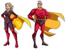 Coppie senior del supereroe su bianco fotografie stock