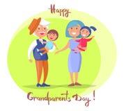 Coppie senior di giorno felice dei nonni con i bambini Fotografia Stock