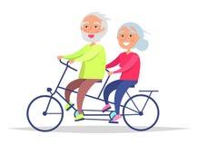 Coppie senior di giorno felice dei nonni sulla bicicletta Immagine Stock