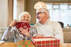 Coppie senior di risata che godono del Natale immagini stock libere da diritti