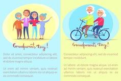 Coppie senior e bici di giorno felice dei nonni Immagini Stock